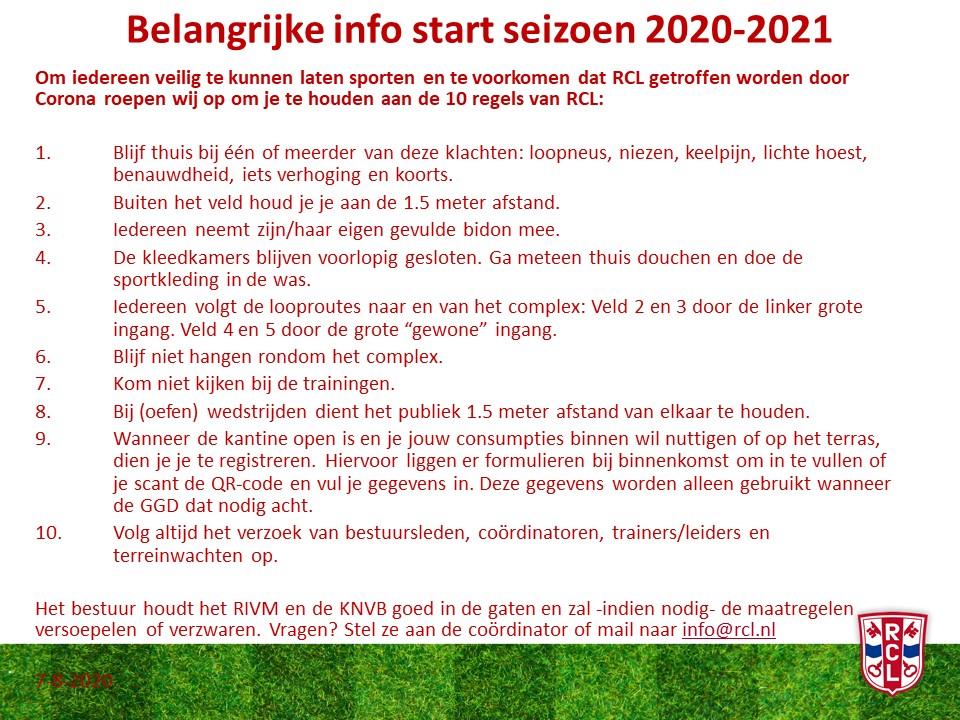 Belangrijke info start seizoen 2020-2021