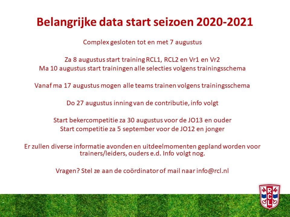 Belangrijke data start seizoen 2020-2021